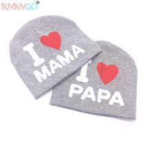 2017 Promotion Photography 2pcs/lot For I Love Papa Mama Baby Knitted Hats Cotton Beanie Hat For Toddler Kids Girl Boy Fashion