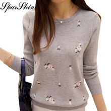 Floral Embroidery Female Sweater Women Sweaters And Pullovers Pull Femme Hiver Ladies Knitted Pullover 2017 Autumn Winter Tops