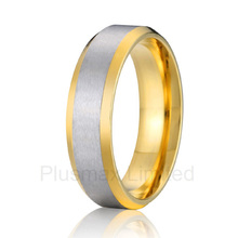 good quality cheap price online store gold color titanium steel jewelry ring mens promise wedding band(China)