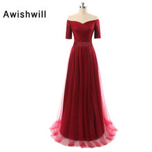 Real Photo Burgundy Color Prom Dresses With Sleeves Evening Party Dress A-Line Vestido De Festa Cheap Long Prom Dresses