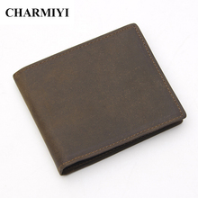 CHARMIYI Men Leaher Wallet Genuine Leather Vintage Purse Fashion Two Fold Brand Short Wallets Card Holder Cow Leather W