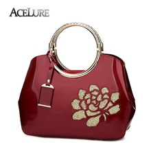 ACELURE Women's Floral Handbags High Quality Patent Pu Leather Bag Female Shell Bag Fashion Retro Ladies Crossbody Shoulder Bags(China)