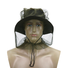2017 NEW Fishing Hats Fishing Cap Anti Mosquito Bug Bee Insect Mesh Hat Head Face Protect Net Cover Travel Camping Protector(China)