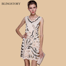 BLINGSTORY Europe nice quality Sun flower sequined paillette women's elegant beige dress for party evening