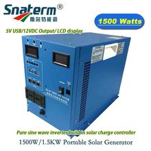 DC24V 1500W/1.5KW Portable Solar Generator hybrid PV inverter peak power 3KW/3000W build in 24V30A/40A/50A with battery charger(China)