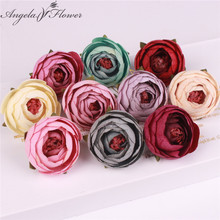 50PCS/LOT silk small tea rose buds artificial flower heads wedding DIY decoration for home garden office table accessories decor