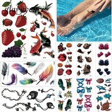 10 Sheets 3D Temporary Tattoo Sticker Colorful Feather Animal Fruit Style Women Back Sleeve Body Art Tattoo Fake Sticker Holiday(China)