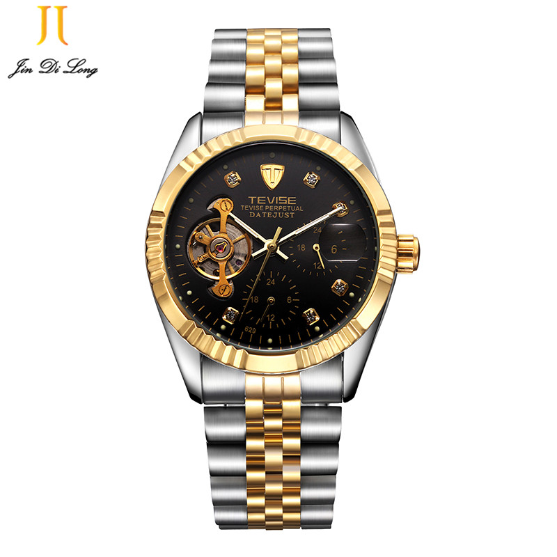 2018 Trend Top Brand Luxury Sport Designer Bezel Gold Skeleton Mechanical Watch Men Military Stainless Steel Clock Wristwatches<br>