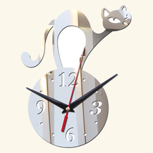2017 new diy acrylic art wall clocks new arrival home decoration 3d mirror clock stickers Modern beautiful gift free shipping