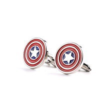 Captain America Cufflinks red color fashion novelty superheroes design Best Gift for Movie fans wholesale(China)