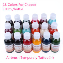 5 Bottles/ Pack Airbrush Temporary Tattoo Ink Common Black For Body Art Painting Beauty Supplies 100ml/bottle Wholesale Price