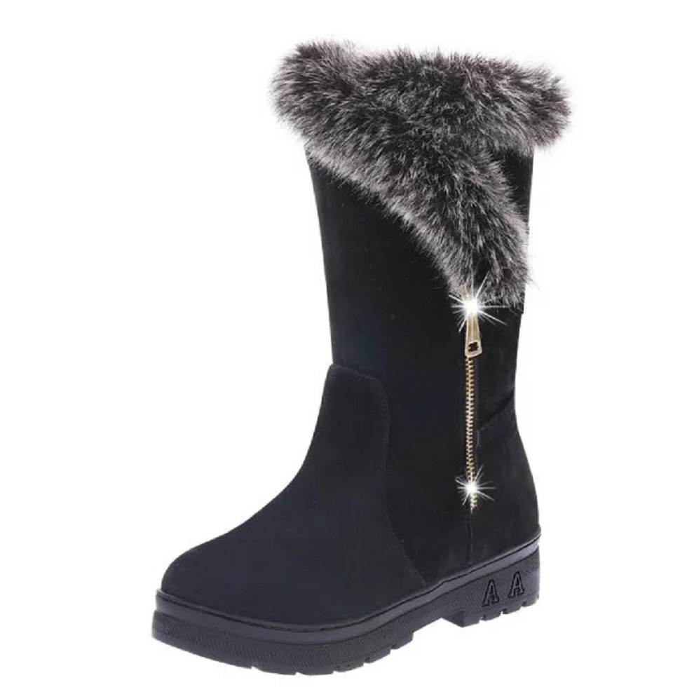QIYHONG  BRAND Winter New Korean Version Of The Waterproof Solid Color Round Head Female Snow Boots Plus Velvet Thick Warm Boots<br><br>Aliexpress