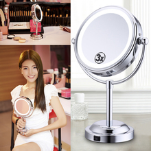 6 Inch 3X Magnification Makeup Mirror 360 Degrees Rotating Standing Cosmetic Mirrors With LED Light(China)