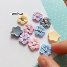 Tanduzi 100PCS Cute Colorful Sakura Resin Flower Flat Back Cabochon Resin Crafts DIY Scrapbooking Deco Parts