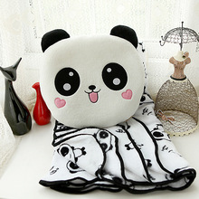 Big eyes cute face panda pillow 5 styles include air conditioning blanket 1PCs plush toys(China)