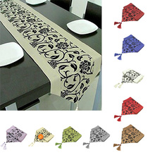 Flora Flower Blossom Flocked Damask Hotel Restaurant Table Runner Cloth