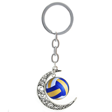 Summer Beach Volleyball picture moon pendant keychain casual sports football basketball rugby tennis golf key chain ring T255