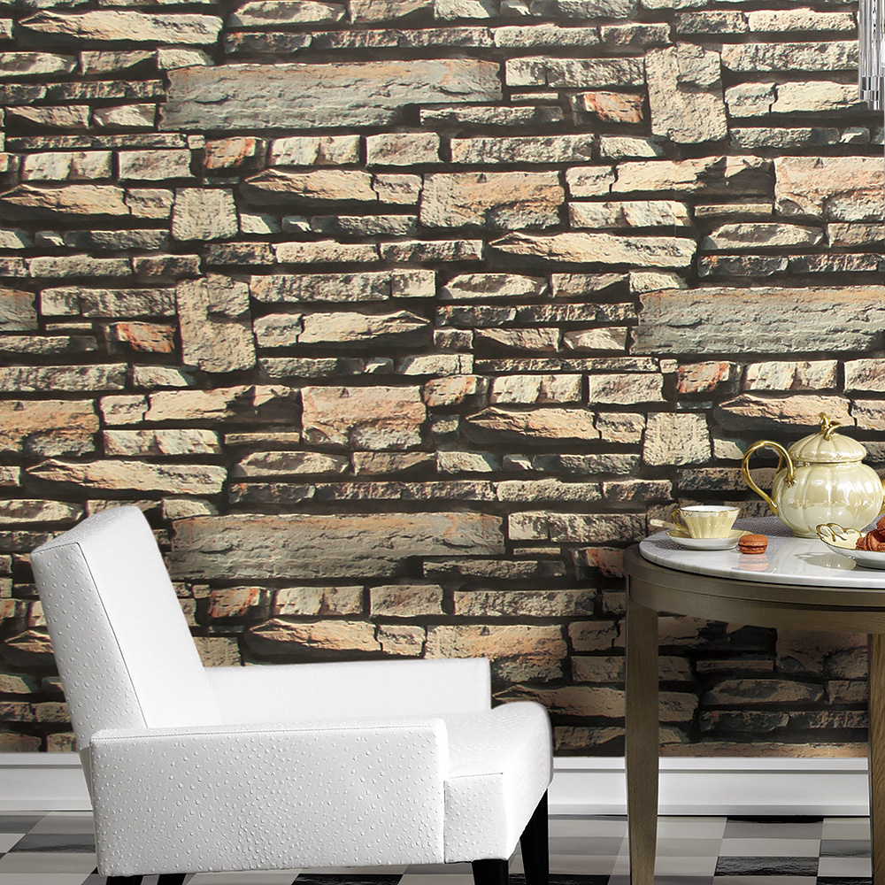 HaokHome Modern Faux Brick Wallpaper Grey/Sand/Khaki Textured Realistic Stone Rolls Living room Bedroom Home Wall Decoration<br>