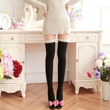 Sales Autumn Winter Women Stockings Warm Cotton Thigh High Long Stockings Lace Knit Girls Over Knee Socks Medias Cuissardes(China)