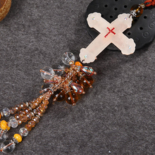 Coloured glaze Jesus Cross Car Decoration Pendant Automobiles Interior Rearview Mirror Hanging Charms Ornaments Accessories Gift(China)