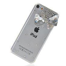 New fashion 3D Gem Bow bling Crystal diamond clear Transparent back cover skin hard case For ipod touch 5 case
