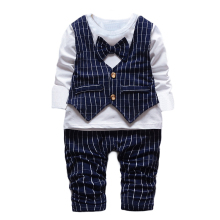 1 2 3 4 years Little Baby Boys' Birthday 2 PCS clothing Set Bowtie plaid Formal Wear Suit Gentleman kids child Clothing Sets