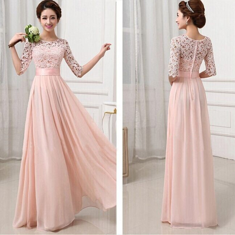 SEBOWEL 2017 Slim Pleated Long Chiffon Dress Women Plus Size Lace Sleeve Dress Floor Length Gowns Bridesmaid Long Party Dress(China (Mainland))