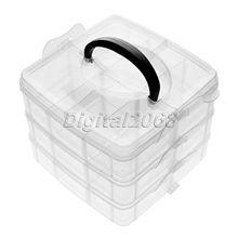 High Quality Arrival Clear Plastic Craft Beads Jewellery Storage Organiser Compartment Tool 3 layers 15x15x12.2cm Free Shipping