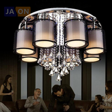 led e27 Iron Fabric crystal LED Lamp LED Light Ceiling lights Ceiling Lamp LED Ceiling Light for foyer Dinning Room Bedroom(China)