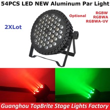 2Pcs/Lot Free Shipping Aluminum Case 54X3W Led Par Light RGBW Single Color 180W LED Par Cans For Professional Dj Stage Lighting