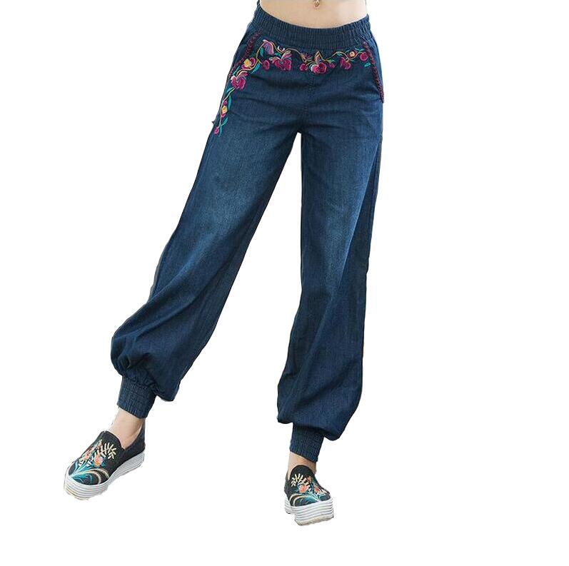 Retro Ethnic Embroidery Women Jeans Stretch Waist Loose Bloomers Casual denim Pants Trousers a350Îäåæäà è àêñåññóàðû<br><br>