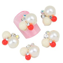 10Pcs/Lot Red&White Beads Nail Charm Stud Glitter Rhinestones&Pearls 3D Alloy Women Cheap Nail Jewelry Wholesale Retail MA0434
