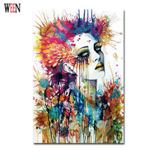 Magic Girl Decorative Pictures Abstract Siren Women Wall Art Painting 1Pc Unframed Cuadros Decoracion Infantiles Christmas Gift