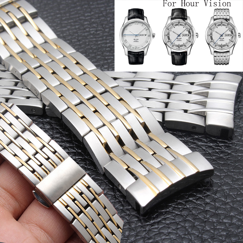 High quality solid stainless steel band between 20 mm silver gold adapter for OMJ De Ville Hour Vision 431.10 butterfly clasp<br>