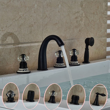 Curve Shape Waterfall Spout Tub Faucet for Bathroom Different Handles with Handshower Oil Rubbed Bronze