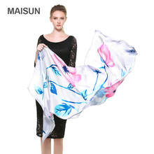[MAISUN] Flowers Pattern 100% Silk Shawl Country Style Georgette Satin Scarves Fashion Printing Woman Scarf(China)