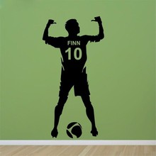 Football Personalized Name & Number Vinyl Wall Decal Poster Wall Art Decor-Kids & Boy Bedroom Soccer Wall Sticker decoration(China)