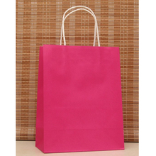 10pcs/lot Rose Red Paper Bag 27x21x11cm Recyclable Gift Boutique Jewelry Packaging Kraft Paper Gift Bags With Handle Z194(China)