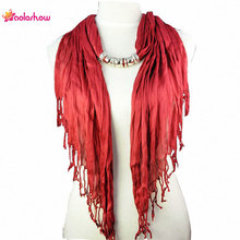 AOLOSHOW Solid Color Triangle style Jewelry Beaded Scarfs Necklace for women With Short Tassel Simple Bead Necklace NL-1316