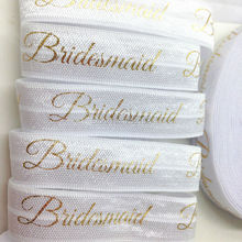 "Buy Gold Foil Bridesmaid Fold Elastic 5/8"" White FOE Ribbon Wedding DIY Headwear Hair Accessories 10yards/lot for $3.98 in AliExpress store"