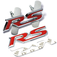Metal RS Emblem Badge Car Styling Sticker for Ford Focus Chevrolet Cruze Kia Rio Sportage Skoda Octavia Mazda 3 VW Hyundai Opel(China)