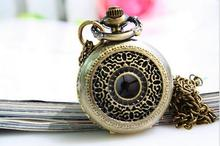 10pcs /lot Retro steampunk quartz bronze Pocket watch crystal necklace pocket watch