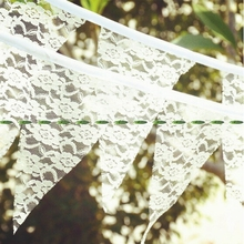 New 2pc x 2.8M Lace Vintage 11 Flag Banner Photo Props Bunting event party supplies Wedding Church Party Decor F5227