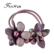 FANHUA New Fashion Plaits Hair Accessories Black Elastic Rope Headbands Colorful Beads Flower Headwear Accessories Women(China)