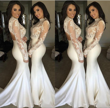 Elegant White Vintage Mermaid Bridesmaid Dresses 2017 Two Pieces Prom Dresses Sheer Long Sleeve High Neck Lace Top Maid Of Honor