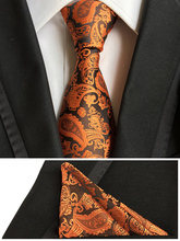 Unique Designer's Ties Set Classic Necktie Orange with Black Paisley Gravata with Woven Handkerchief
