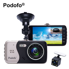 Podofo Novatek 96658 4.0 Inch IPS Screen Dual Lens Car DVR Camera Full HD 1080P Vehicle Blackbox Video Recorder Dash Cam(China)
