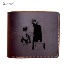 Leon The Professional Genuine Leather Wallet Male Custom Name Gift Purse Laser Engraved Leon and little girl Movie Wallets Purse(China)