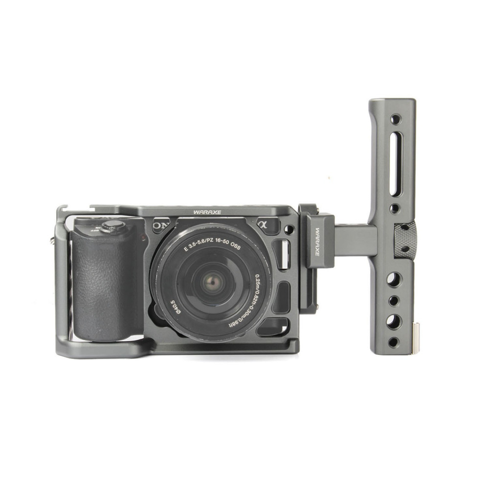 productimage-picture-waraxe-a6-kit-camera-cage-with-nato-rail-handle-grip-for-sony-ilce-6000-ilce-6300-ilce-a6500-with-1-4-and-3-8-threaded-holes-cold-shoe-base-97614