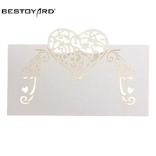 50pcs Laser Cut Heart Shape Table Name Card Place Card Wedding Party Decoration Favor (White)(China)